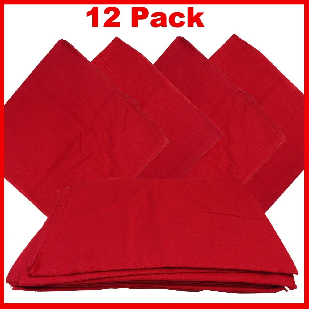 "Red Bandanas - Solid Color 22"" X 22"" (12 Pack)"